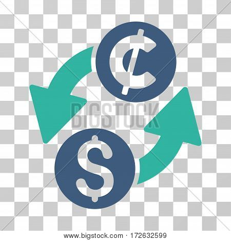 Dollar Cent Exchange icon. Vector illustration style is flat iconic bicolor symbol cobalt and cyan colors transparent background. Designed for web and software interfaces.