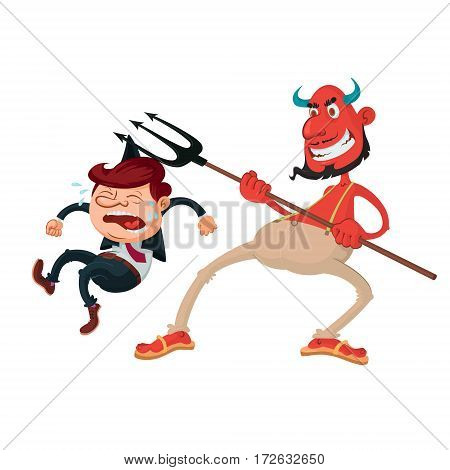 devil with a pitchfork and weeping sinner vector illustration