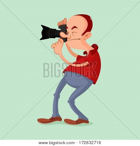 Photographer with camera catch the moment. Vector cartoon.