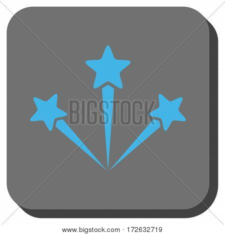 Festive Fireworks interface button. Vector pictogram style is a flat symbol on a rounded square button light blue and gray colors.
