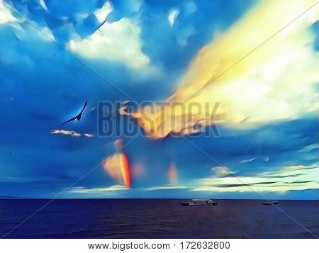 Seagull and rainbow on sunset sky. Sea landscape with sea bird. Boat in the sea. Rainbow over sea. Tropic sea view with cloudy sky. Sea after storm digital illustration. Seascape image with text place