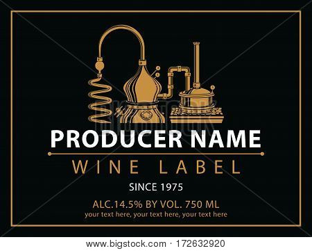 vector labels for wine with winery in black and gold