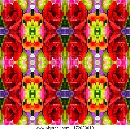 Abstract Colorful Background floral pattern with red color flowers and green leaf plastic pixel art design
