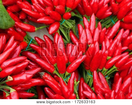 Many bouquets of red hot chillies on sale at the greengrocer