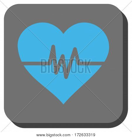 Heart Pulse rounded button. Vector pictograph style is a flat symbol in a rounded square button light blue and gray colors.