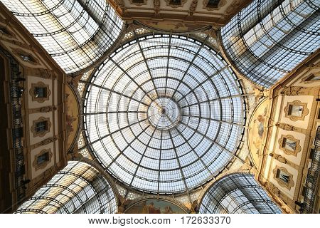 Inside the fantastic gallery dedicated to Vittorio Emanuele II King of Italy with a glass roof and steel and artistic decorations in Milan Italy