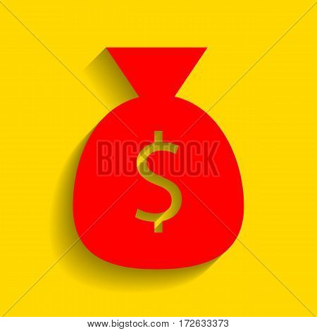 Money bag sign illustration. Vector. Red icon with soft shadow on golden background.