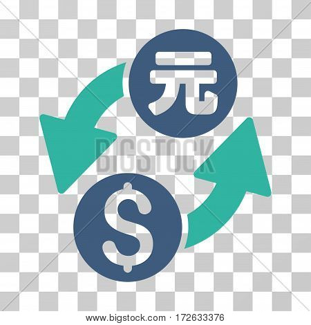 Dollar Yuan Exchange icon. Vector illustration style is flat iconic bicolor symbol cobalt and cyan colors transparent background. Designed for web and software interfaces.