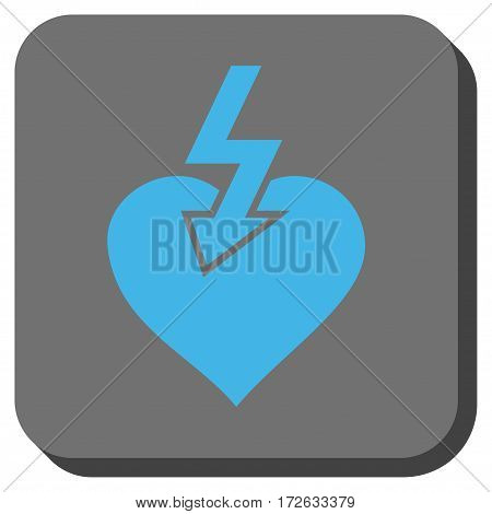 Heart Shock Strike toolbar icon. Vector pictograph style is a flat symbol centered in a rounded square button light blue and gray colors.