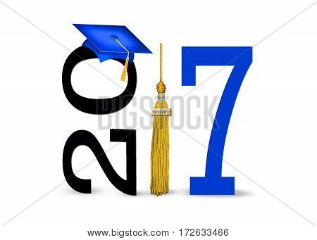 blue graduation cap with gold tassel on white for class of 2017