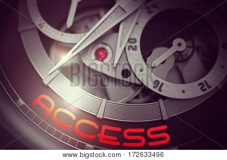 Old Pocket Watch with Access on Face, Symbol of Time. Access on the Automatic Men Watch Detail, Chronograph Up Close. Work Concept with Glow Effect and Lens Flare. 3D Rendering.