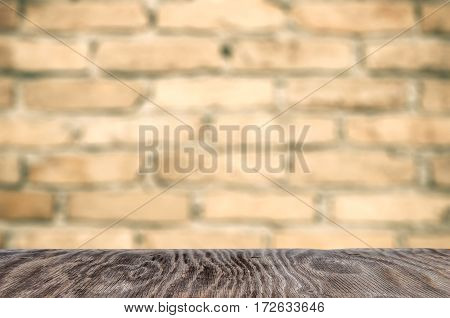 Empty Wooden Table For Product Placement Or Montage With Focus To The Table Top In The Foreground, W