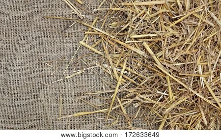 Rural Background With Jute Fabric And Straw Barn With Space To W