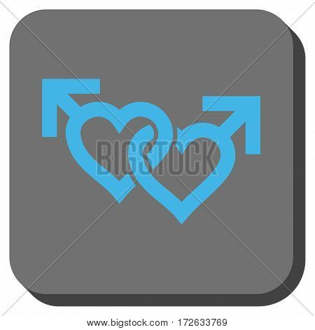 Linked Gay Hearts interface toolbar icon. Vector pictograph style is a flat symbol in a rounded square button light blue and gray colors.