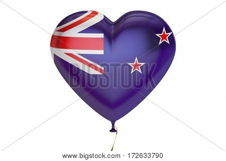 balloon with New Zealand flag in the shape of heart 3D rendering isolated on white background