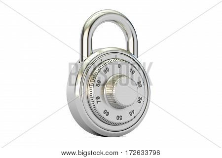 combination padlock 3D rendering isolated on white background