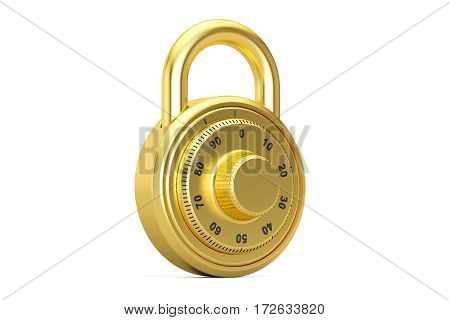 golden combination padlock 3D rendering isolated on white background