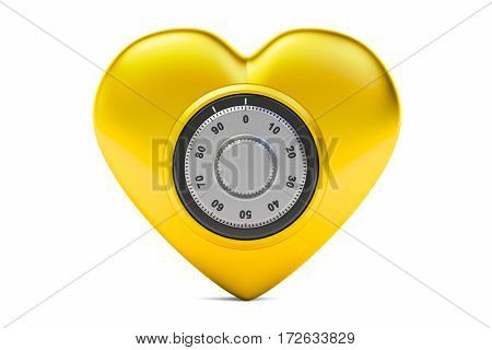 Golden heart with safe combination lock 3D rendering isolated on white background