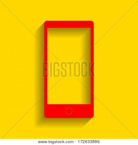 Abstract style modern gadget with blank screen. Template for any content. Vector. Red icon with soft shadow on golden background.