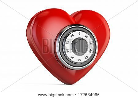 Red heart with safe combination lock 3D rendering isolated on white background
