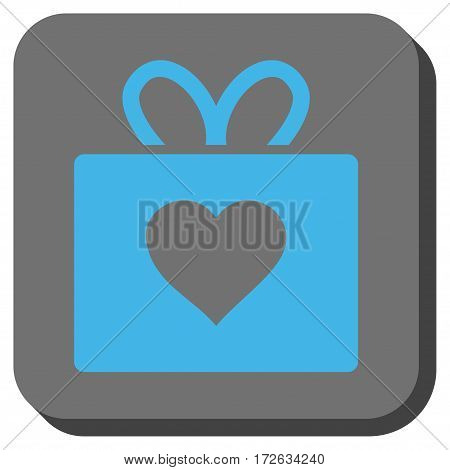 Love Gift rounded icon. Vector pictogram style is a flat symbol centered in a rounded square button light blue and gray colors.