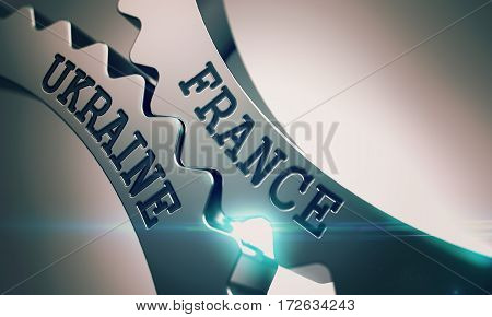 France Ukraine - Illustration with Lens Effect. France Ukraine on Mechanism of Metal Cog Gears. Communication Concept in Technical Design. 3D Illustration.