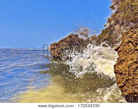 Seaside view with huge rocks and a wave. Seawater splashes over stones. Hidden beach landscape. Seascape with big wave. Dangerous wave hit beach stone. High tide wave. Tropic sea image with text place