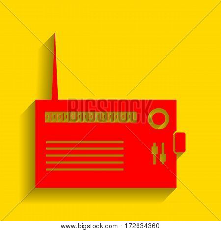Radio sign illustration. Vector. Red icon with soft shadow on golden background.