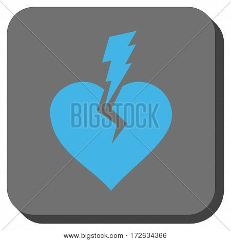 Love Heart Crash toolbar button. Vector pictogram style is a flat symbol inside a rounded square button light blue and gray colors.