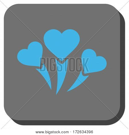 Love Heart Fireworks square icon. Vector pictogram style is a flat symbol centered in a rounded square button light blue and gray colors.