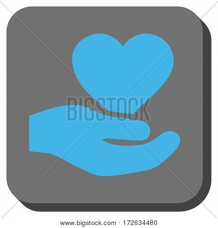 Love Heart Offer Hand interface toolbar icon. Vector pictogram style is a flat symbol in a rounded square button light blue and gray colors.