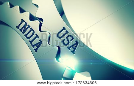 Usa India Metallic Cog Gears - Communication Concept. with Lens Flare. Usa India on the Shiny Metal Gears, Business Illustration with Lens Flare. 3D Render.