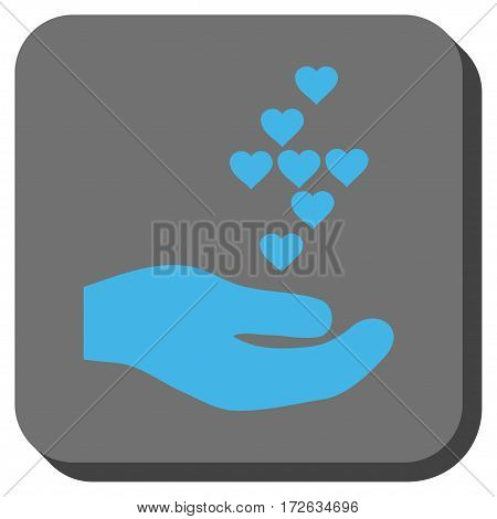 Love Hearts Offer Hand interface icon. Vector pictograph style is a flat symbol inside a rounded square button light blue and gray colors.