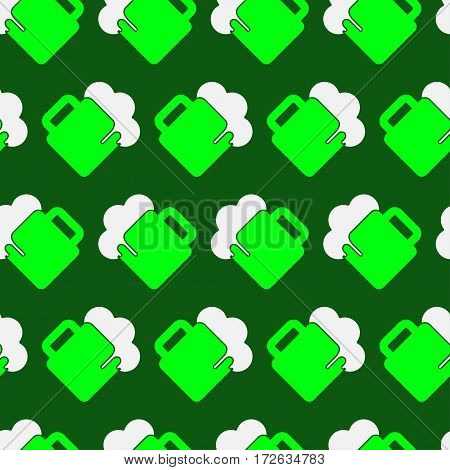 seamless wrapping paper - light green and white beer with froth in front of a dark green background