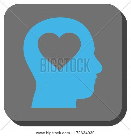 Love In Head rounded icon. Vector pictograph style is a flat symbol centered in a rounded square button light blue and gray colors.