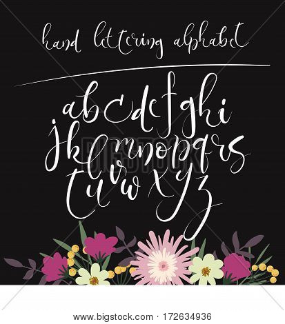 Hand Lettering Alphabet. Hand Drawn Letters. Modern Calligraphy Font. Vector