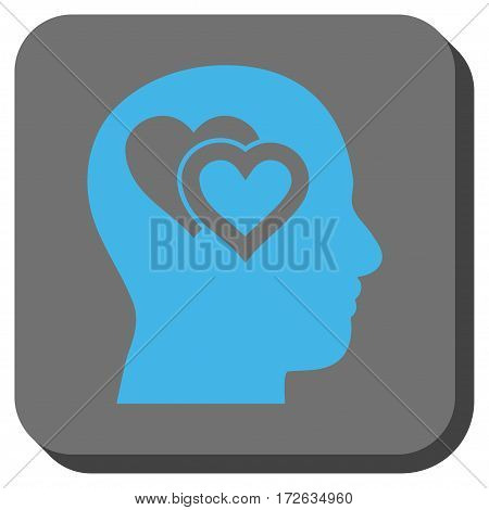Love In Mind interface toolbar icon. Vector pictogram style is a flat symbol in a rounded square button light blue and gray colors.