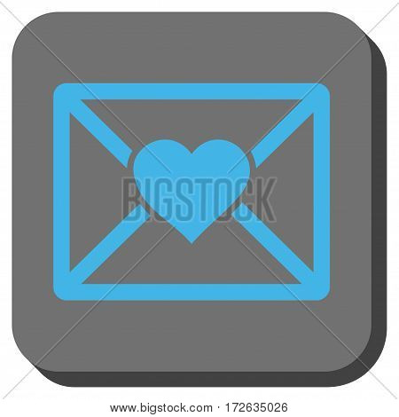 Love Letter interface icon. Vector pictogram style is a flat symbol centered in a rounded square button light blue and gray colors.