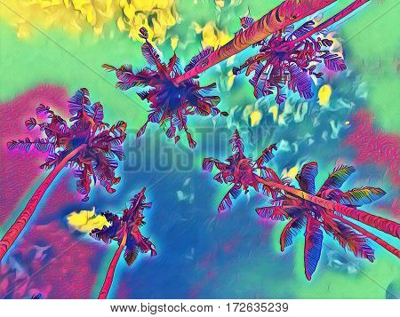 Palm trees on sky background. Coco palm tree leaf crowns digital illustration. Top of palms - view from below. Cloudy sky image with coco palm tree crones. Nature of tropical island.