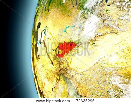 Kyrgyzstan On Planet Earth From Space