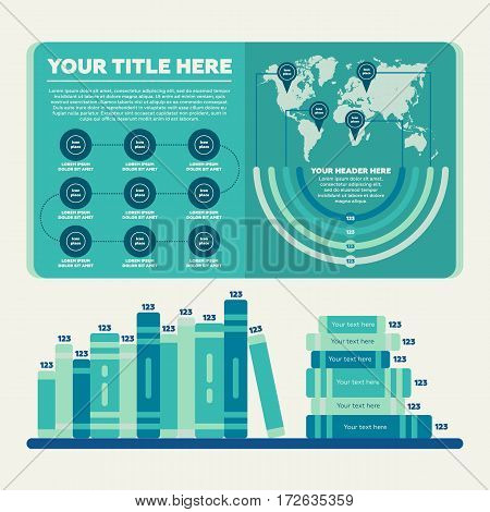 Infographics elements. Steps, worldmap, pie chart and book bar diagram