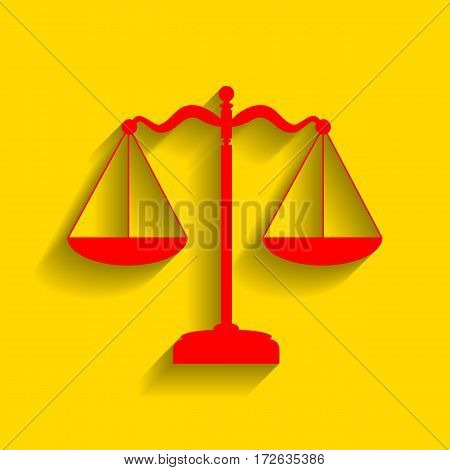 Scales balance sign. Vector. Red icon with soft shadow on golden background.