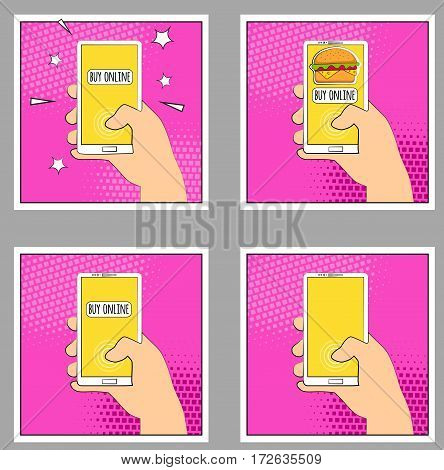 Set Comic phone with halftone shadows. Hand holding smartphone. Pop art retro style. Flat design. Vector illustration eps 10.