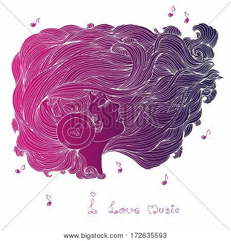 Vector painted colors purple portrait in profile of a girl with long wavy hair. Girl with closed eyes listening to music in headphones. Phrase I love music. Icon of musical notes.
