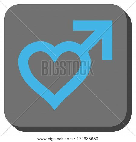 Male Heart interface toolbar button. Vector pictograph style is a flat symbol in a rounded square button light blue and gray colors.