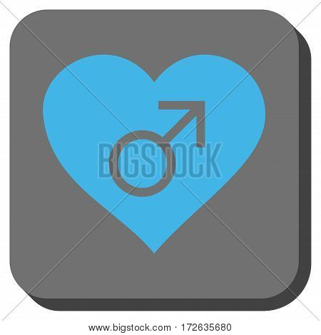Male Love Heart interface toolbar button. Vector pictograph style is a flat symbol on a rounded square button light blue and gray colors.