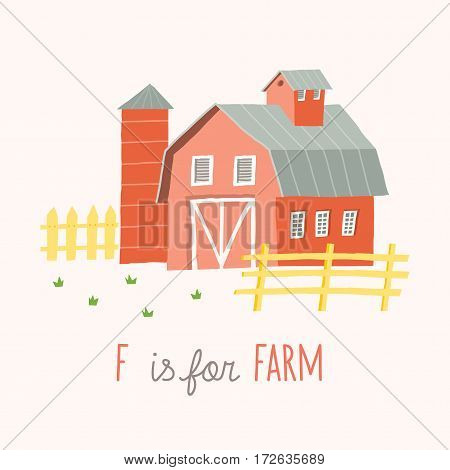 Cartoon farm building. ABC Kids Wall Art. Letter F Alphabet Flashcard. Nursery poster wall art. Playroom decor. F is for Farm. Vector eps 10 hand drawn illustration isolated on white background.