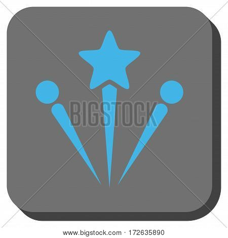 Salute Fireworks interface button. Vector pictogram style is a flat symbol on a rounded square button light blue and gray colors.