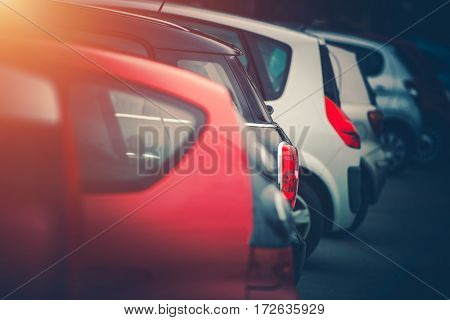 Full of Cars Car Parking Concept Photo. Row of Modern Vehicles Side by Side Parked.