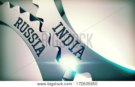 India Russia on the Mechanism of Metal Cog Gears with Lens Flare - Interaction Concept. India Russia on the Mechanism of Metal Gears. Enterprises Concept in Industrial Design. 3D Render.